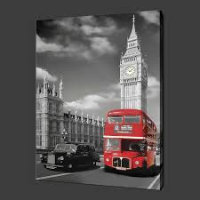 london big ben red bus canvas wall art pictures prints 30 x 20