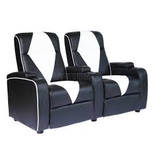 Electric Recliner Sofa by Foxhunter Leather Retro Cinema Movie Chair Sofa 2 Seat Electric