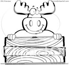 cartoon clipart of a black and white goofy moose over a blank wood
