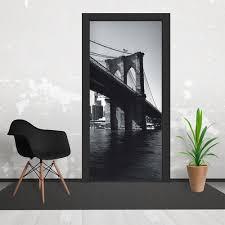 and white brooklyn bridge cityscape door wallpaper 3 piece door black and white brooklyn bridge cityscape door wallpaper 3 piece door mural 95cm x 210cm