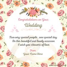 wedding greeting card sayings wedding congratulations wishes images with my name create online