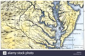 Map Of Maryland Map Of Virginia And Maryland Colonies Settled In 1738 Stock Photo