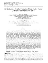 mechanical and electrical properties of single walled carbon