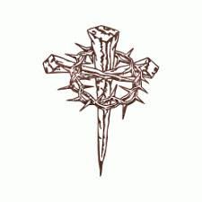 cross of nails with crown of thorns tattoos