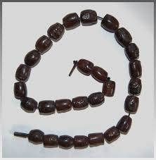 wood beaded necklace images Antique wood bead necklace carved oriental symbols animals jpg