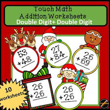 christmas spinner touch math worksheets double digit addition