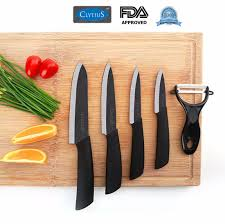 clytius ceramic kitchen knife set black blade 5pc clytius