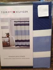Navy And White Striped Shower Curtain Tommy Hilfiger Striped Contemporary Shower Curtains Ebay