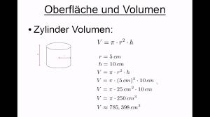 oberfläche zylinder oberfläche und volumen quader kugel und zylinder