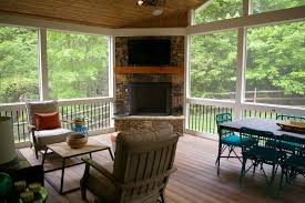 fiberon deck and screened porch with fireplace u2014 deckscapes
