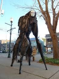 Creepiest Halloween Costumes Fantastically Creepy U0027stilt Spirit U0027 Costume Wearer