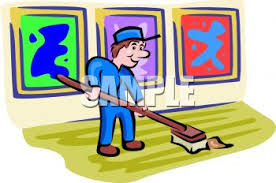 gallery clipart janitor sweeping up in an gallery royalty free clipart image