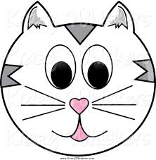 critter clipart of a white and gray happy cat face by pams clipart