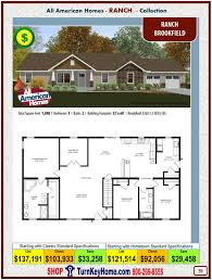 brookfield all american modular home ranch collection plan price
