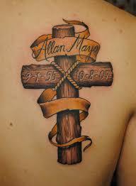 small cross tattoos for men woodgrain cross tattoo