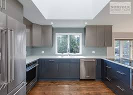 blue kitchen cabinets grey walls high gloss two tone kitchen norfolk kitchen bath