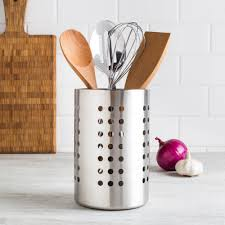 sevy utensil holder with holes stainless steel kitchen stuff plus