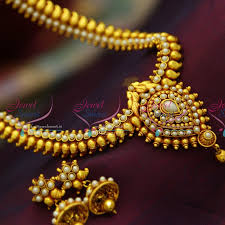 red gold jewelry necklace images Nl3131 red gold plated mango pearl haram traditional look necklace JPG