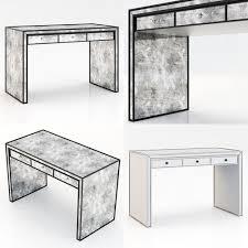 restoration hardware strand mirrored desk 3d model max obj 3ds fbx mtl