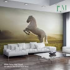 Home Interiors Horse Pictures by White Horse Wall Mural Wild Horse Self Adhesive Peel Wall