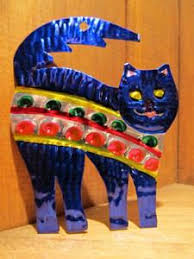 mexican tin ornaments colorful cats convivio bookworks