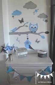 hibou chambre bébé stickers bleu ciel gris argent décoration chambre enfant garçon bébé