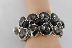 fashion elastic bracelet images Silver metal bangle elastic bracelet black gray circle stones new JPG