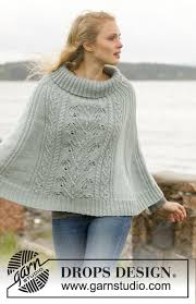 drops design poncho frozen knitted drops poncho with cables and leaf pattern in