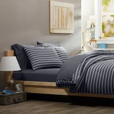 Mens Bed Set Casual Bedroom Design With Simple Masculine Bedding Gray Striped