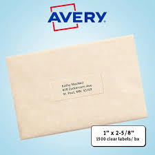 avery easy peel mailing labels 1 x 2 5 8 clear 1 500ct