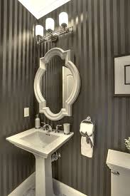 traditional powder room with pedestal sink u0026 interior wallpaper in