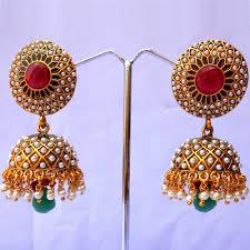 jhumka earrings uk stylish green jhumka earrings boontoon