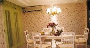 white green dining room floral wallpaper interior design ideas