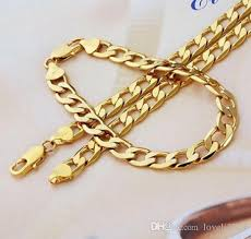 2015 men s jewelry 8mm 60cm new arrival 2016 new 24k yellow gold filled men s necklace bracelet 24solid curb