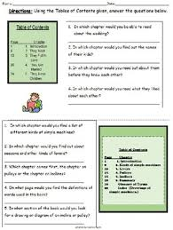 on book title table of contents inference glossary 3rd grade level