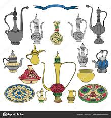 colorful vector set of arabic ornamental crockery with teapots