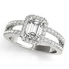 engagement rings emerald cut emerald cut diamond engagement ring split shank platinum 1 52ct