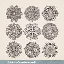 vector indian ornament kaleidoscopic floral pattern mandala set