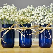 Dark Blue Glass Vase Set Of Three Cobalt Blue Glass Mason Jar Vases Cottage Chic
