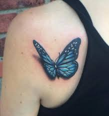 3d blue butterfly back shoulder