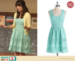 wornontv jess u0027s mint green dress with yellow cardigan on new