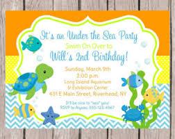 sea theme birthday party invitation boys
