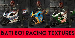 martini livery motorcycle bati 801 racing textures repsol martini gta5 mods com
