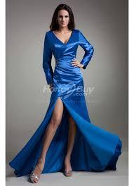 Blue Wedding Dress Satin Long Sleeves Side Slit Chapel Train Royal Blue Wedding Dress