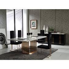Modern Dining Room Sets Miami Modrest Kingsley Modern Marble U0026 Rosegold Dining Table