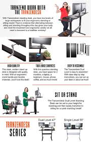amazon com tranzendesk dual level standing desk 47 inch long