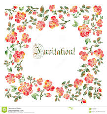 holiday invitation cards cute holiday invitation card with rose ornament background stock