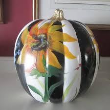 painted pumpkins fall decor fall decorations sunflower pumpkin