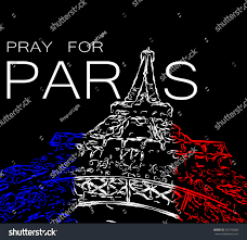pray paris symbol paris eiffel tower stock illustration 340766069