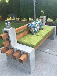 graceful cinder block bench for your home with cushion bench
